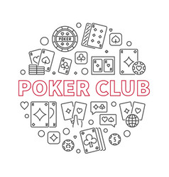 poker club round concept outline vector image