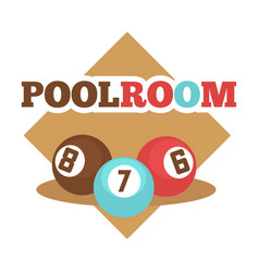 Pool room isolated promotional emblem with vector