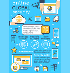 poster for online global security vector image