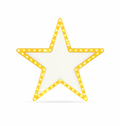 Retro gold star vintage frame with lights vector