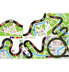 road infographic set a winding road with markers vector image