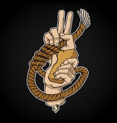 rope and hands vector image