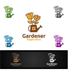 rose gardener logo with green garden environment vector image
