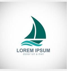 sailing boat yacht logo vector image