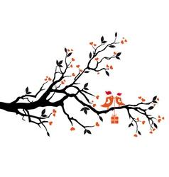 Santa birds on a tree vector image vector image