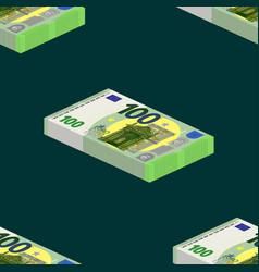 Seamless pattern symmetric bundles banknotes 100 vector