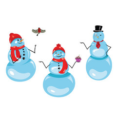 set christmas snowmen collection funny vector image