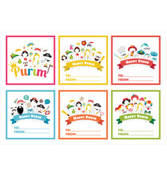 Set of gift tags with purim costumes props vector