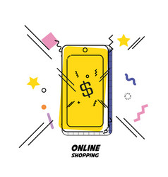Shopping cart with smartphone on line vector