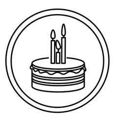 silhouette round emblem with party cake icon vector image
