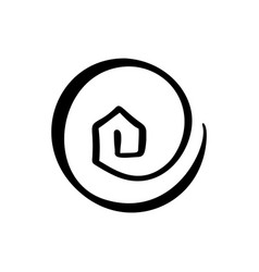Simple calligraphy house real icon estate vector