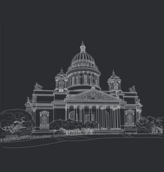 Sketch of the cathedral in st petersburg vector
