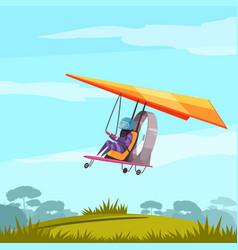 Skydiving sport flat poster vector