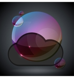 Soap bubble on black background one vector