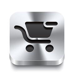 Square metal button - shopping cart remove icon vector