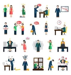 Stress depression mental health icons set vector