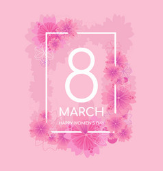 tender pink color 8 march greeting card vector image
