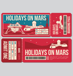 Travel voucher ticket holiday on mars vector