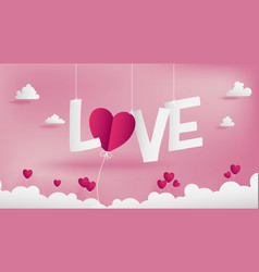 Valentines paper art concept contains many shape vector