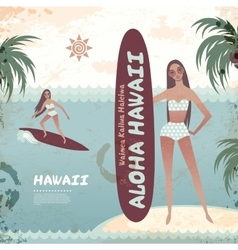 vintage banner hawaiian island with a surf girl vector image
