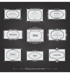 Vintage filigree frames set on chalkboard vector