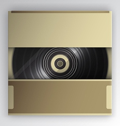 vinyl record inside the package vector image