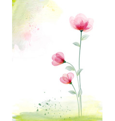 Watercolor hand painted with pink floral vector