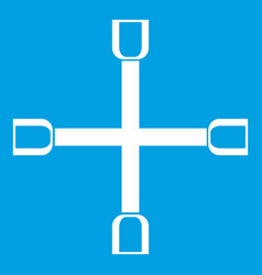Wheel wrench cross icon white vector