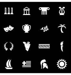 white greece icon set vector image