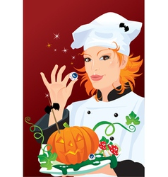 Witch - chef cooking for Halloween party vector