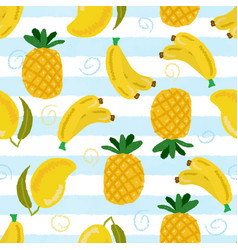 yellow tropical fruit on blue strip background vector image