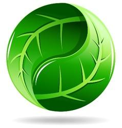 Yin Yang symbol in a leaf design vector image vector image