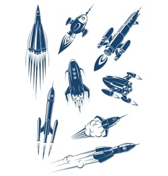 Cartoon spaceships and rockets in space vector image
