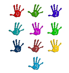 Colorful hand numbers vector image vector image