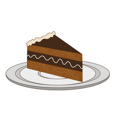 Dish with piece of cake with cream vector