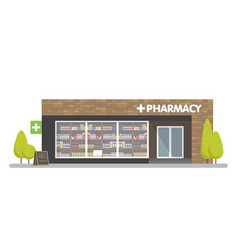 facade of pharmacy in the urban space the sale of vector image vector image