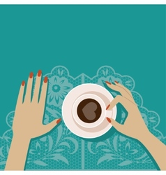 Flat cup of coffee vector image vector image