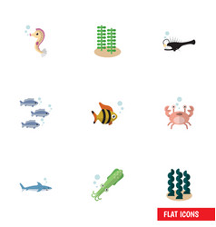 Flat icon nature set of shark seafood cancer and vector