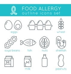 Food allergy triggers flat outline icons set vector