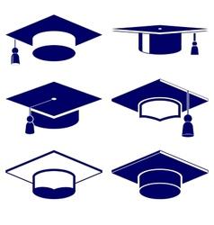 Graduation cap icon set vector