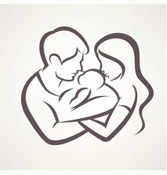 happy family stylized symbol young parents and vector image vector image