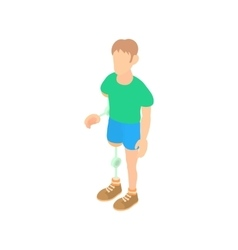 Man with prosthetic leg and arm icon cartoon style vector image