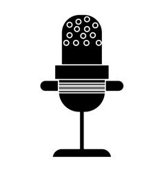 silhouette microphone vintage communication audio vector image