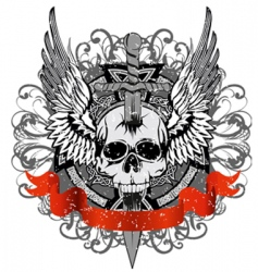 skull punched by sword vector image vector image