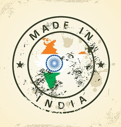 Stamp with map flag of India vector image