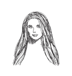 Young woman sketch Hair and face vector image vector image