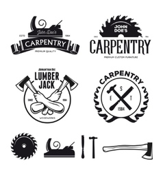 Carpentry emblems badges design elements vector image vector image