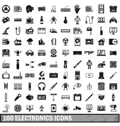 100 electronics icons set simple style vector image