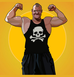 cartoon big muscular man standing in the pose vector image vector image