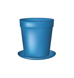 empty flowerpot in blue design vector image vector image